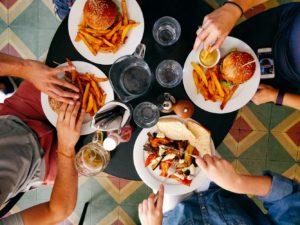 burgers, fries, fajita